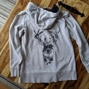 Roxy Oatmeal hoodie with deer and flower print